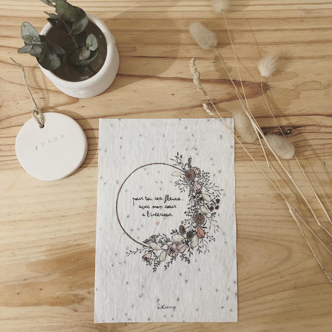 Carte à planter pour offrir des fleurs   Suite Créative